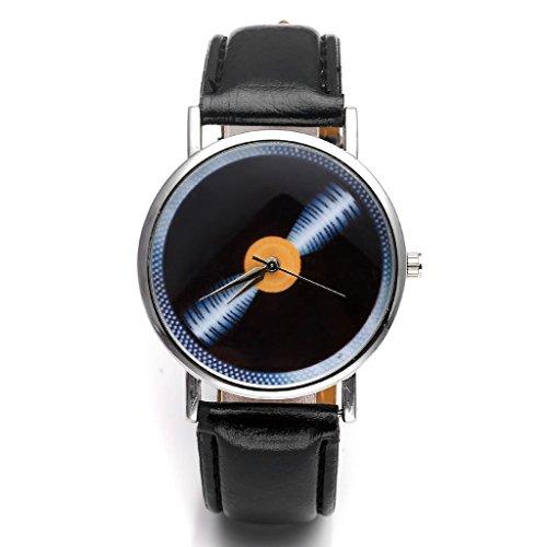 Orologi JSDDE, Vintage suono piano/lunga gioco blaha modello orologio da polso al quarzo non-cifre in ecopelle,