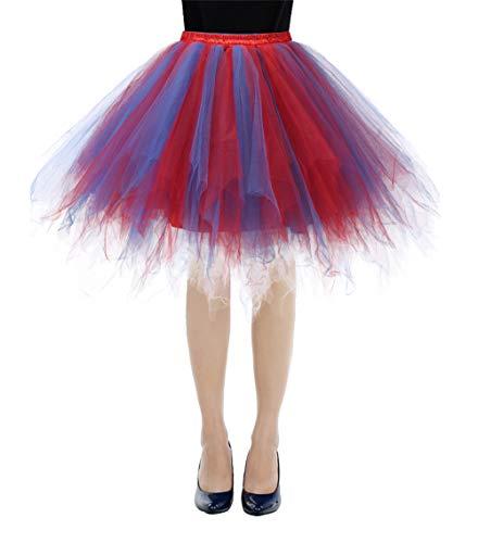 Bbonlinedress Kurz Retro Petticoat Rock Ballett Blase 50er Tutu Unterrock Royal Blue-Red M