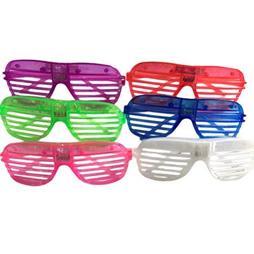 BESTOYARD 6 blinkende Sonnenbrillen mit LED-Licht für Partys, Foto-Requisiten (zufällige Farbe)