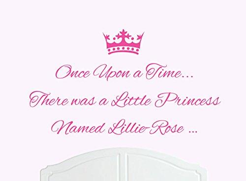 ONCE UPON A TIME THERE WAS A LITTLE PRINCESS LLAMADO LILLIE-ROSE GRANDE ADHESIVO DECORATIVO PARA PARED/DE VINILO CAMA HABITACION ARTE CHICA/BEBE