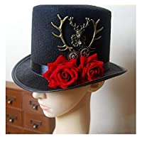 W.S.-YUE Steampunk Gear & Deer Head Top Hat Retro Gothic Fedoras Hats with Rose Flower,Humanization Design (Color : Black, Size : 57CM)
