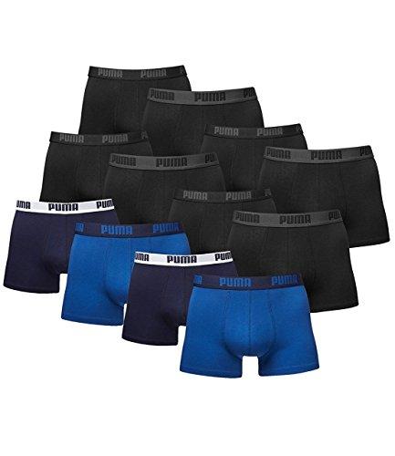 PUMA Herren Boxershorts Unterhosen 521015001 12er Pack , Wäschegröße:M;Artikel:4 x black (230) + 2 x true blue (420)
