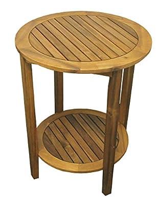 colourliving® Beistelltisch Holz massiv Akazienholz Gartentisch Tisch rund 60 cm