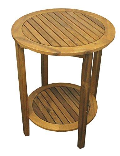Colourliving Beistelltisch Holz Massiv Akazienholz Gartentisch Tisch Rund 60 Cm