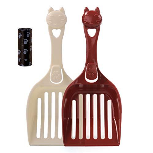XAIFEN 2 Stück Katzenstreu Schaufel, Große Streuschaufel Haltbare Plastiksieb Schaufel für Kitty Katzen Haustiere Cat Litter Scoop Streuschaufel Katzentoilette Schaufel