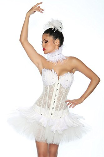 Black Swan / White Swan Corsage - weiß - S (Black Swan White Swan Kostüm)