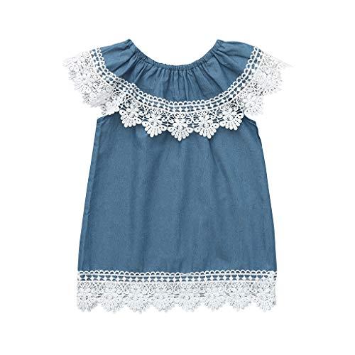 LEXUPE Mädchenbekleidung, Kleinkind Baby MäDchen äRmellose Spitze RüSchen Denim Sommerkleid Outfits Kleidung Kleid