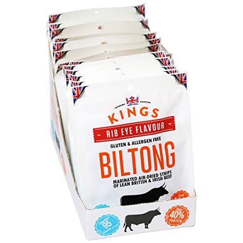 Kings Rib Eye Flavour Beef Biltong Box of 16 x 30 Grams