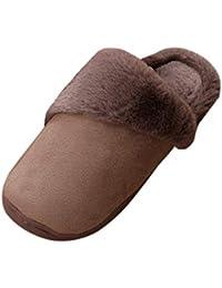 Suncaya Donna Uomo Pantofole Warmer Peluche Pelliccia Flip Flops Pantofole  Antiscivolo Scarpe per Autunno  6156f1fbe4a