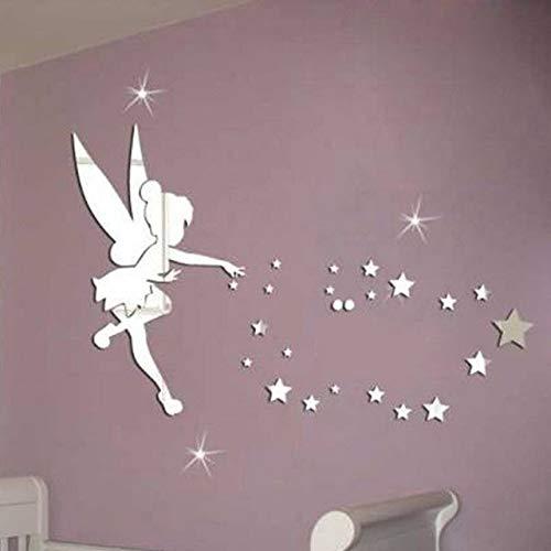 Xinqin Ding 26 teile Fairy Wandspiegel Spiegelacryl Dekorative DIY Wandaufkleber Dekoration Kunst Papier für Wohnzimmer, Schlafzimmer, Kinderzimmer, Eingang,Wohnheim, Kindergarten