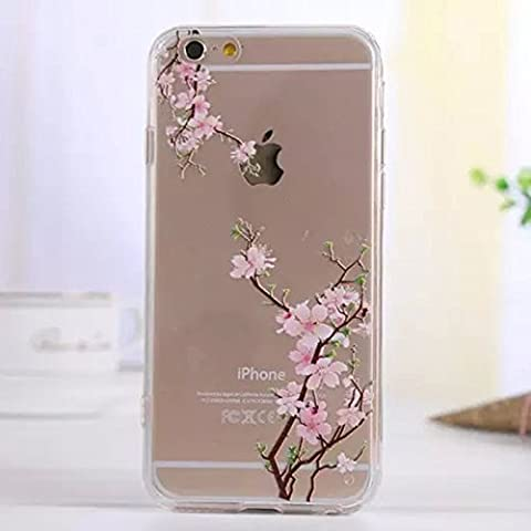 iGrelem® iPhone 6 6s Case [ with Free Tempered Glass Screen Protector ], Ultra Thin TPU Soft Cover for Apple iPhone 6 4.7'', Colorful Pattern Design Jelly Protective Case for iPhone 6 4.7 Inch - Flowers, #15