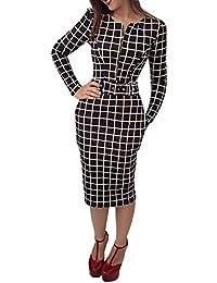 c900178d709 Boutiquefeel Women Long Sleeve Plaid Zipper High Waisted with Belt Bodycon  Midi Dress