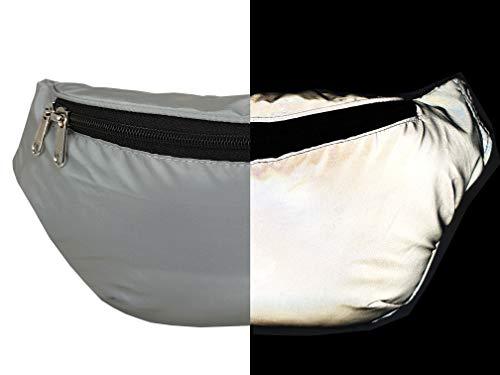 Imagen de roamlite rl626gu  bolsa reflectante xl para correr, ciclismo, clubbing y festivales, bolsa de viaje con correa de diseñador en color plateado alternativa
