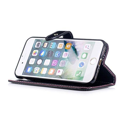Trumpshop Smartphone Case Coque Housse Etui de Protection pour Apple iPhone 7 Plus (5.5-Pouce) [Marron Profond] Motif Peau de Crocodile PU Cuir Fonction Support Anti-Chocs Noir