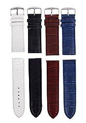 Sorella'z Watch Strap Combo of Four for Men's Watch (NavyBlue,White,Brown,Black)