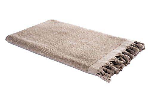 Carenesse Hamam-Tuch 2in1 beige, Handtuch und Hamamtuch in einem, 100% Baumwolle, 90 x 190 cm, Fouta Pestemal, Saunatuch, Strandtuch, Badetuch, Turkish Towel