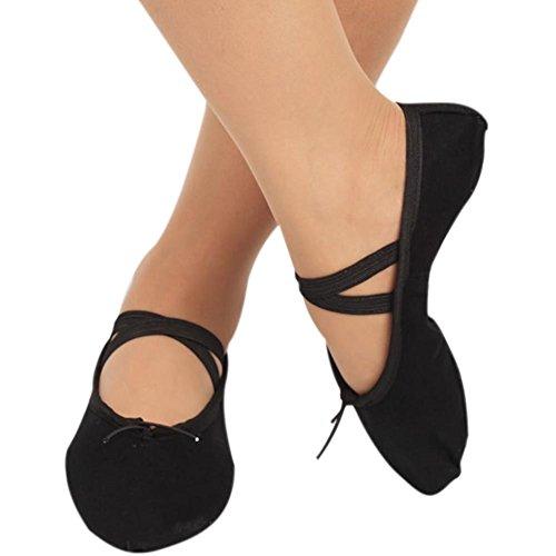 Rowentauk Ballettschuh Ballett Weiche Canvas Tanzschuhe Gymnastik Yoga Schuhe Flache Frauen Ballettpumpen Hausschuhe Pilates Schuhe Mädchen Damen Kinder Erwachsene (Ballett Wohnungen Weichen)