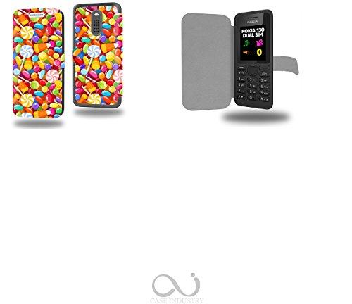 Bonbon et Candy Sugar Seamless Collection Pattern Custodia Pelle Ultra Slim per Nokia 130 smartphone - Flip Case Funda Cover protettiva Nokia 130 PU Pelle - CASE Industry accessori