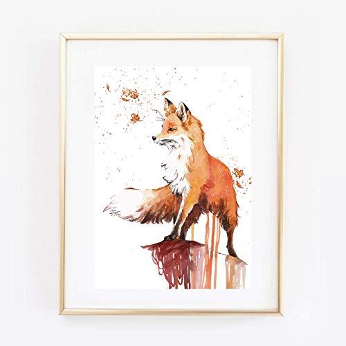Din A4 Kunstdruck ungerahmt - Fuchs Aquarell modern orange Geschenk Druck Poster Bild - Orange Aquarell