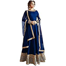 Active Women's Crepe Silk Anarkali Salwar Suit (Free Size_Blue)