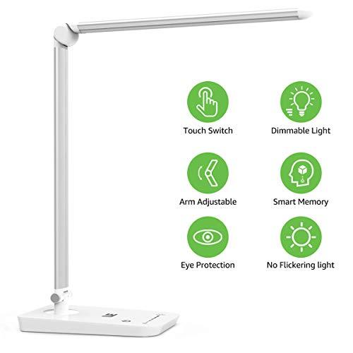 LE LED Schreibtischlampe, Dimmbare Tischlampe LED, 7 Helligkeitsstufen, Augenfreundliche Tischleuchte, Touch-Control, 54 LEDs Nachttischlampe Leselicht ideal für Leser, Kinder, Büro, Schwarz