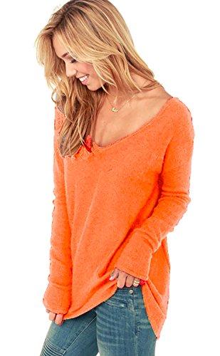 Mikos Damen V-Ausschnitt Lose Langarm Oberteile Frühling Strickpullover Oversize Lang Sweatshirt Tops (652) (S/M, Neon Orange)
