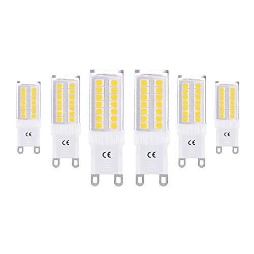 LOHAS 5W Equivalent à Ampoule Halogène 40W, G9 LED Ampoule Blanc Chaud 3000K, 400LM, 360° Large Faisceau, Non-dimmable, Culot G9, Lot de 6 (Birne-installer)
