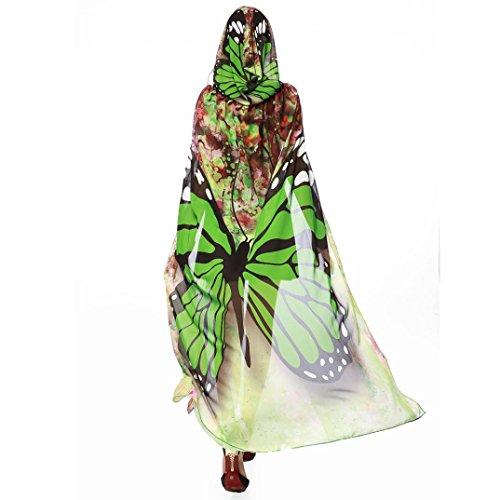 Schmetterling Kostüm Dasongff Frauen Party Kapuzen Umhang Print Chiffon Schmetterling Flügel Cape Schal Pfau Poncho Schal Wrap Karneval Fasching Kostüm Cape mit Kapuze (140 * 100CM, Grün)