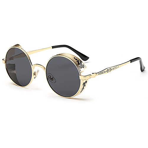 SODIAL(R) Steampunk Runde Metall Sonnenbrille Retro Vintage Brille (Golden-Rahmen schwarz) (Steampunk Metall-brille)