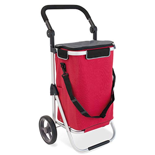 bremermann Einkaufstrolley RIEDE faltbar, Verstellbarer Griff (rot)