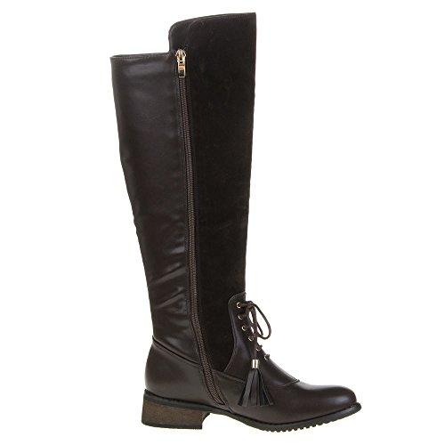 Damen Schuhe, QQ-35, STIEFEL Dunkelbraun