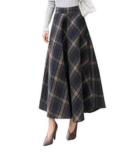 Damen Vintage Plaid Gestreiftes Wollrock hohe Taille Langen röcke Warm Wolle Retro Elegant Winterrock Herbst Elastische Taille Rock (M (Taille: 68-74 cm), Dunkelgrünes Plaid) - Vintage-wolle Plaid Rock