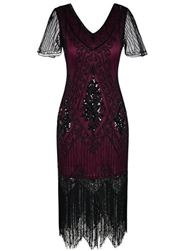 PrettyGuide Damen 1920er Charleston Kleid Pailetten Cocktail Flapper -