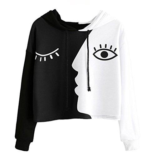 iYmitz Damen Sweatshirt mit Kapuze Langarm Crop Patchwork Bluse Pullover Tops(Schwarz,3XL) -