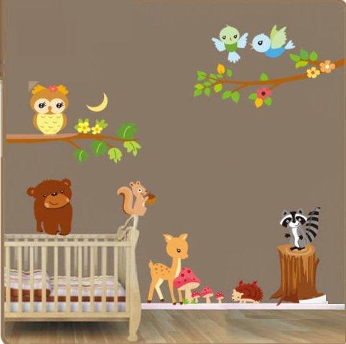 Waldtiere Wandaufkleber. Schöne Tiere Wandtattoo. Aufkleber für ein Kinderzimmer. Fototapete Art Deco. Kinderzimmer Dekoration. Babyzimmer Aufkleber. Baby Wandaufkleber.