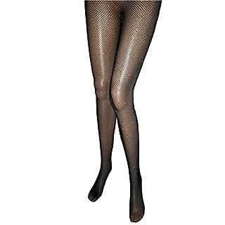 EROSPA® Elegante Netz-Strumpfhose mit Glitzer Strass-Steinen Damen Feste Silvester beige schwarz (Schwarz)