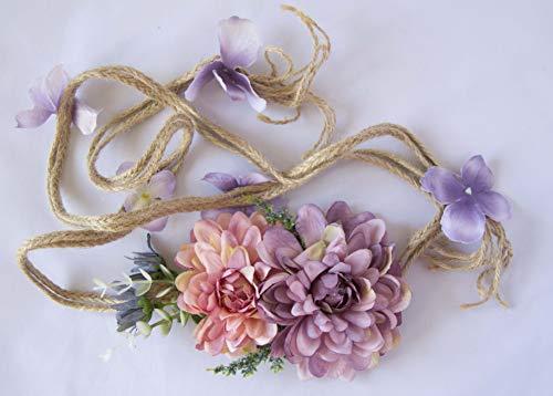 Cinturón de cuerda con adorno de ramo de flores moradas y rosas. Envío GRATIS 72h
