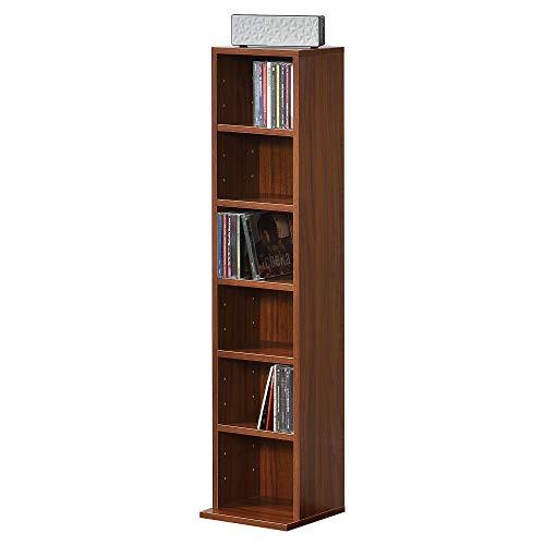 [en.casa] Bücherregal CD Regal Standregal Regal Aufbewahrung 6 Fächer Walnuss