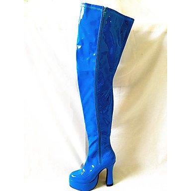 5240ef51b09cc Rtry Femmes Chaussures Pu Automne Hiver Mode Bottes Bottes Chunky Talon  Bout Rond Sur Genou Bottes