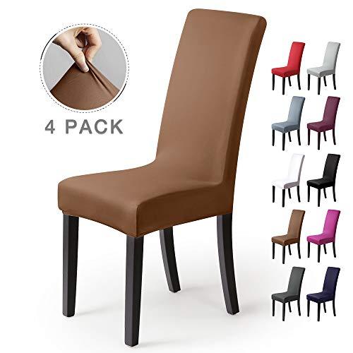 Coprisedie con schienale 4 pezzi elasticizzato copertura della sedia bi-elastico per una misura universale, coppia spandex coprisedia molto facile da pulire e di lunga durata(4 pezzi ,beige-pietra)