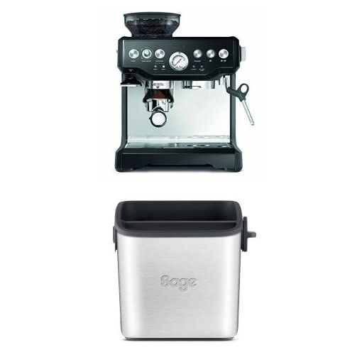 Sage by Heston Blumenthal the Black Barista Express Coffee Machine and Grinder, 1700 W with the Knock Box Mini Bundle
