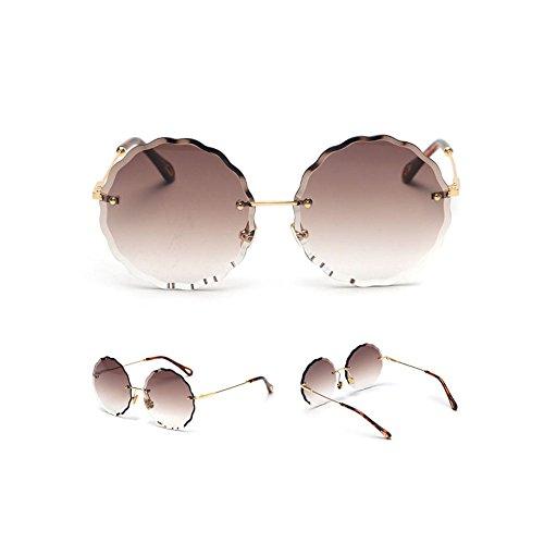 Z&HA Ocean Gradient Sonnenbrille Allmähliche Änderung Farbe Runde Linse Gläser, Randlose Welle Spitze Junge Mädchen Candy Farbe Brillen Stern Stil Kleidung Zubehör Brillen,Brown