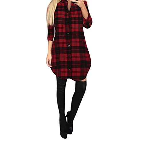 FORH Damen Elegant Karierte Sweatshirt Bluse Casual Langarm Trachtenhemd ButtonHemden Oversize Long Cardigan MiniKleid Freizeit Tartan Tunika Swing Hemdkleid Tops (Rot, M)