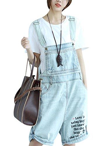 Youlee Damen Sommer Brief Gedruckt Fünfte Hosen Denim Overalls Light Blue