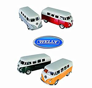 Welly Pull Back and Go Model Silver VW T1 Bus 1963 - Childs Toy Car - Childs/Children Perfect Ideal Christmas Stocking Filler Gift Present