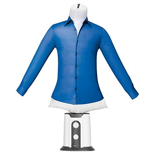 Clatronic HBB 3707 Hemden-und Blusenbügler 2in1 Funktion - Trocknen und Bügeln in einem Schritt, 180 Minuten-Timer, 2 Temperaturstufen, Weiß-Grau