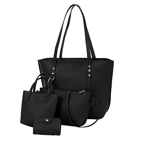 Beikoard borsa a tracolla in pelle modello 4 pezzi donna + borsa a tracolla + borsa + portafoglio(nero)