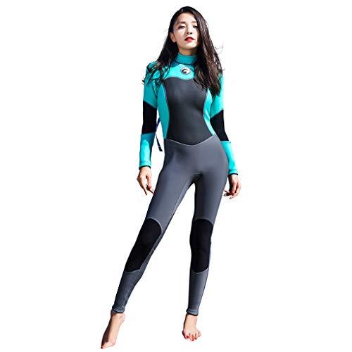 iYmitz 1.5 mm Damen Surfanzug Langarm Tauchen Tauchanzug Sommer Neoprenanzüge Anzug Frauen Einfarbig Bademode(Schwarz,XL)