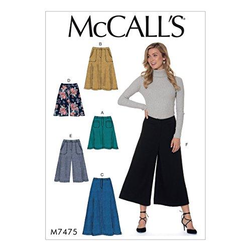 McCall 's Patterns Schnittmuster Röcke, Shorts und Culotte, mehrfarbig, Größen 14-22