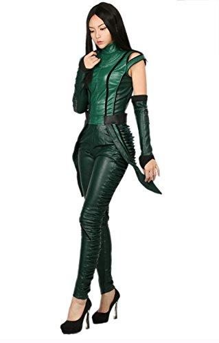 Damen PU-Leder ärmellose Top-Hosen Mantis Fancy Dress Outfit Cosplay Kostüm Erwachsene Anzug mit Armschützer (Gamora Halloween Kostüme)
